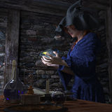 Bruja de Halloween en fondo del concepto del laboratorio Fotografía de archivo libre de regalías