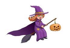 Bruja de Halloween en la escoba con la calabaza Imagen de archivo libre de regalías