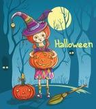 Bruja de la muchacha de Halloween Imagenes de archivo