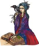 Bruja de la mujer con el cuervo negro Fotos de archivo