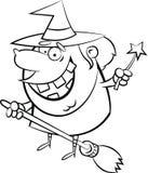 Bruja de la página B&W del colorante de Halloween en una escoba stock de ilustración