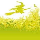 Bruja del vuelo en la escoba en el jardín libre illustration