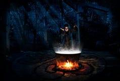 Bruja en bosque de la noche con la versión de la rana fotografía de archivo libre de regalías