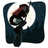 Bruja en cielo nocturno Foto de archivo libre de regalías