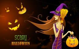 Bruja en la noche de Halloween Foto de archivo libre de regalías