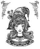 Bruja en sombrero en el Zen-garabato o el Zen-enredo l decorativo negro del estilo en blanco stock de ilustración