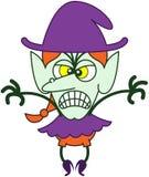 Bruja furiosa de Halloween que es asustadiza Fotos de archivo