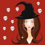 Bruja hermosa en sombrero negro Imágenes de archivo libres de regalías
