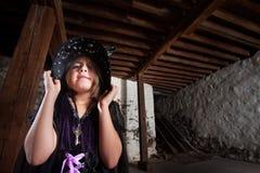 Bruja malcriada del pequeño niño Fotografía de archivo