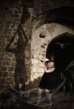 Bruja que asusta su sombra Foto de archivo libre de regalías