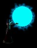 Bruja que echa el ejemplo azul del encanto de la bola de fuego Fotos de archivo libres de regalías