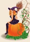 Bruja y calabaza atractivas del feliz Halloween Imágenes de archivo libres de regalías