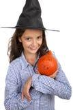 Bruja y calabaza de Halloween Imágenes de archivo libres de regalías