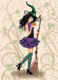 Bruja y calabaza lindas, tarjeta de Halloween Fotografía de archivo libre de regalías