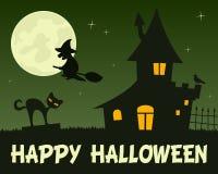 Bruja y casa encantada de Halloween Imagenes de archivo