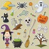 Bruja y objetos lindos de Halloween Imagenes de archivo