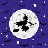 Bruja y palos contra la Luna Llena libre illustration