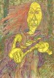 Bruja y vara Imagen de archivo libre de regalías
