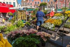 BRUJAS, BÉLGICA - 6 DE ABRIL DE 2008: Mujer que vende las flores en Markt Fotografía de archivo libre de regalías
