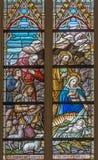 BRUJAS, BÉLGICA - 12 DE JUNIO DE 2014: La adoración de la escena de los pastores en el cristal en catedral del St Salvator Foto de archivo libre de regalías