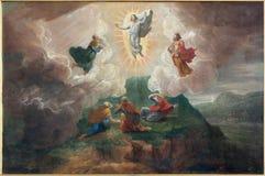Brujas - la transfiguración del señor por D Nollet (1694) en la iglesia del st Jacobs (Jakobskerk) Fotos de archivo libres de regalías