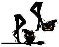 Brujas que hacen el diseño del vector del partido de Halloween fijar imagen de archivo libre de regalías