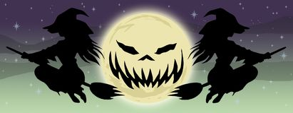 Brujas que vuelan de la BANDERA dos de Halloween ilustración del vector