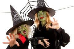 Brujas verdes asustadizas para Víspera de Todos los Santos Fotografía de archivo