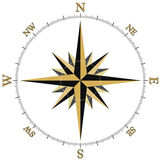 Brujula1c. Compass Rose Illustration in black and gold Vector Illustration