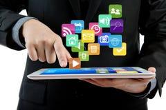 bruk för tablet för PC för affärsdatorman Fotografering för Bildbyråer
