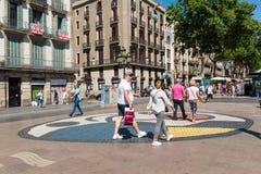 Bruk mozaika Joan Miro na losie angeles Rambla w Barcelona, Hiszpania zdjęcie royalty free