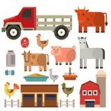 Bruka tecken för djur för jordbruk för korn för plockningen för mat för naturen för symbolsvektorillustrationen olika Arkivbilder