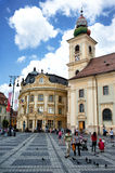 Brukenthal Palace and Catholic Church Sibiu Romania Stock Photos
