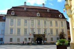 Brukenthal Palace. Typical urban landscape in Sibiu, Transylvania. Stock Photography