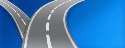 Brukować drogi na błękitnym tle Zdjęcia Stock