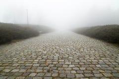 Brukowego kamienia droga z mgłą Zdjęcia Stock