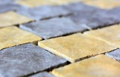 Brukowego kamienia zbliżenia tekstury miękka ostrość zdjęcia stock