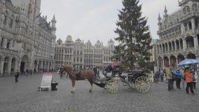 BRUKSELA BELGIA, GRUDZIEŃ, - 04, 2017: Fracht w Uroczystym miejscu Bruksela zbiory wideo
