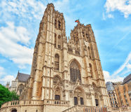 BRUKSELA BELGIA, LIPIEC, - 07, 2016: Katedra St Michael i Obraz Royalty Free