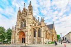 BRUKSELA BELGIA, LIPIEC, - 07, 2016: Notre Damae Du Sablon's Cathe Zdjęcia Royalty Free