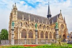 BRUKSELA BELGIA, LIPIEC, - 07, 2016: Notre Damae Du Sablon ` s katedra w Bruksela, Belgia i Europejskiego zjednoczenia ` s kapita Obrazy Royalty Free