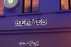 Bruksela Brussels, Belgium,/- 13 12 18: Hermès sklep podpisuje wewnątrz Brussels Belgium zdjęcie stock