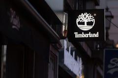 Bruksela Brussels, Belgium,/- 13 12 18: timberland podpisuje wewnątrz Brussels Belgium zdjęcie royalty free
