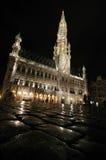 Bruksela, Bruxelles przy nocą Zdjęcia Stock