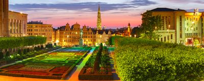Bruksela przy zmierzchem, Belgia, Bruksela Obrazy Royalty Free