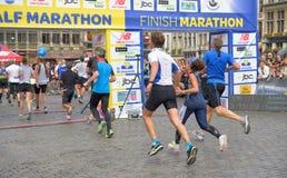 Brukselski Maratoński koniec zdjęcia royalty free
