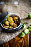 Brukselskie flance piec z warzywami i fasolami zdjęcie stock