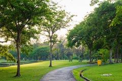 Brukująca ścieżka wygina się przez parka pokojowej ścieżki Obrazy Stock