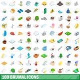 100 brumal geplaatste pictogrammen, isometrische 3d stijl Stock Fotografie