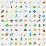 100 brumal geplaatste pictogrammen, isometrische 3d stijl Stock Foto's